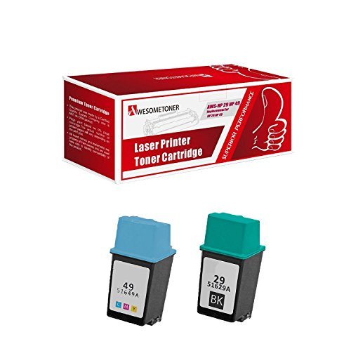 Awesometoner Compatible HP 29 & 49 Ink Cartridges Combo 2-Pak: 1 Black / 1 Color