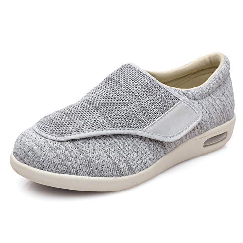 B/H Hombre Ajustable De Velcro Zapatillas OrtopéDica,Zapatos Ancianos de Verano y otoño, Zapatos Unisex con pies hinchados-Gris Claro Mezcla de Hilo_38