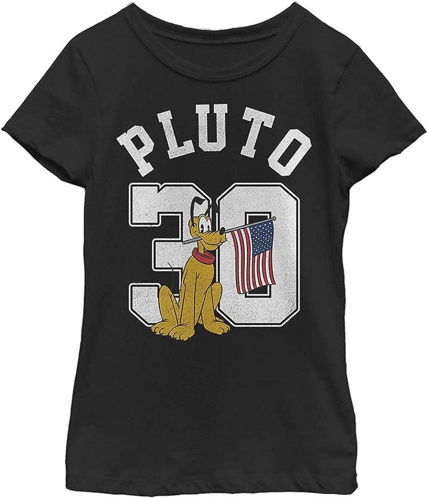Disney Characters Pluto Collegiate Girl's Solid Crew Tee