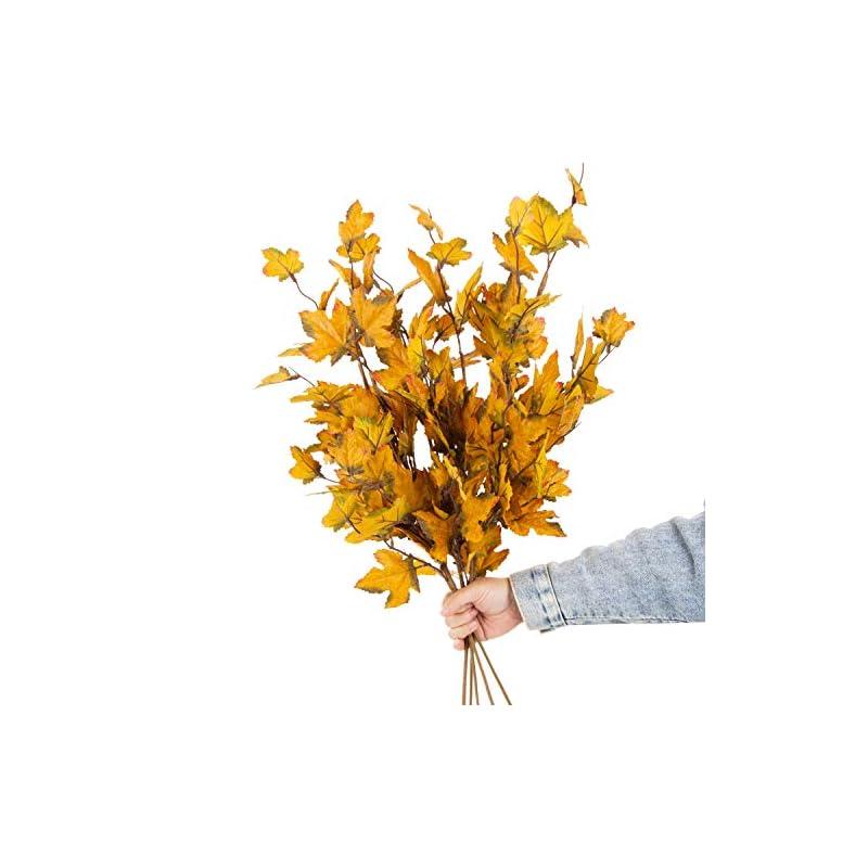 silk flower arrangements jd artificial fall flower maple tree branch 6pcs 32 inch long stem maple fall plant for home décor wreath centerpiece wedding bouquet outdoor fake shrubs(yellow)