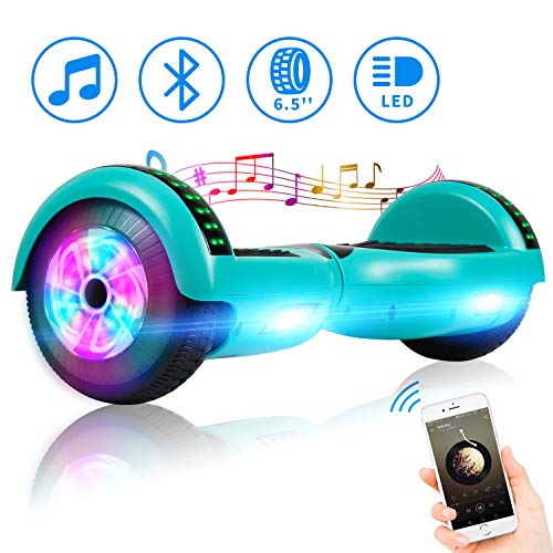 Spadger Hoverboard with Bluetooth Speaker and LED Banner Flashing Lights Two 6.5' Wheels Self-Balancing Electric Scooter Dual 300W Motors Smart Hover Board Adults Kids Gift - UL2272 Certified