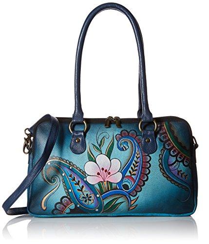 Anna by Anuschka Damen Satchel Handbag echtes Leder, Denim Paisley Floral, Einheitsgröße