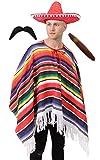 Ilovefancydress Poncho mexicain avec sombrero moustache et cigare costume pour homme et femme Tailles S à XXXL