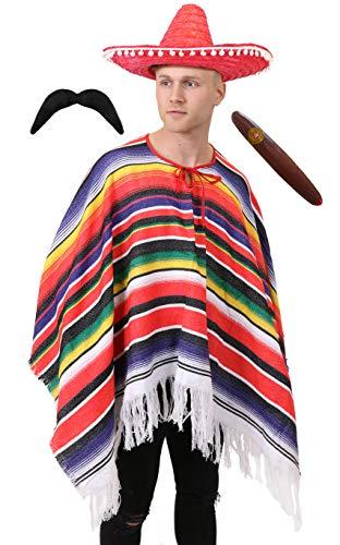MEXICAN PONCHO SOMBRERO TASH & CIGAR DELUXE WESTERN FANCY DRESS COSTUME MENS LADIES ONE SIZE S-XXXL (disfraz)