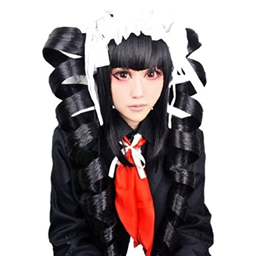 Anogol Hair Cap + Anime Black Cosplay Wig Ponytails Synthetic Costume For Party