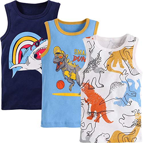 Adorel Camisetas Interiores Algodón para Niños Paquete de 3 Baloncesto & Surfing 5-6 Años (Tamaño del Fabricante 140)