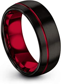 Tungsten Carbide Wedding Band Ring 8mm for Men Women Green Red Fuchsia Copper Teal Blue Purple Black Offset Line Dome Black Brushed Polished