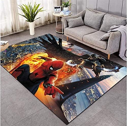 xiangpiaopiao Tapis Tapis Marvel Superhero Iron Man Spiderman Imprimé 3D Décor À La Maison Antidérapant Doux Tapis Tapis Rampant pour Enfants (09894Dt) 80X150Cm