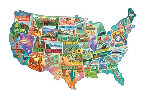 TDC Games American Road Trip 1000 Piece Jigsaw Puzzle in The Shape of The USA – 31 inches Long –...