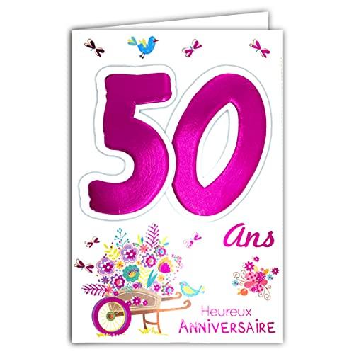 Age Mv 69-2035 Carte Anniversaire 50 ans Femme motif Brouette Fleurs Oiseaux
