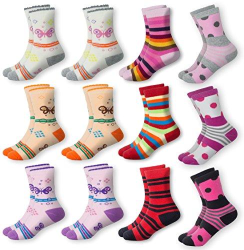 MC.TAM® Mädchen Bunte Socken Strümpfe 12 Paar 90% Baumwolle Oeko Tex® Standard 100, 31-34, 12 Paar Mädchen Strümpfe