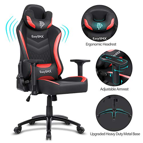 EasySMX Gaming Chair Racing Office Computer Game Chair, Ergonomic Backrest and Seat Height Adjustment Recliner Swivel Rocker with Headrest and Waist Tilting Electronic Sports Chair (Red-Black) chairs Dining Features Game Kitchen Video