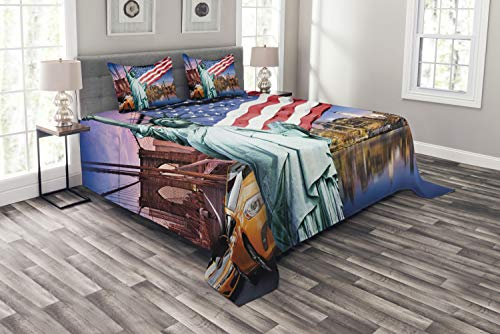 ABAKUHAUS Vereinigte Staaten Tagesdecke Set, Freiheitsstatue, Set mit Kissenbezügen Sommerdecke, für Doppelbetten 264 x 220 cm, Mehrfarbig