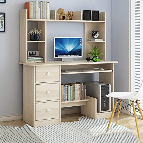 Z IMEI Modern Sturdy Office Desk Computertisch Mit Schubladen Bücherregal,Studienbüro Schreibtisch Pc-Tisch Bürotisch Studien-schreibtabelle Für Home Office-E 100cm