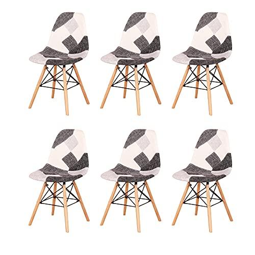 GrandCA HOME Set di 4 Sedie,sedie Patchwork di Lino Sedie da Soggiorno Sedie da Pranzo con Schienale con Cuscino Morbido (Grigio-6 sedie)