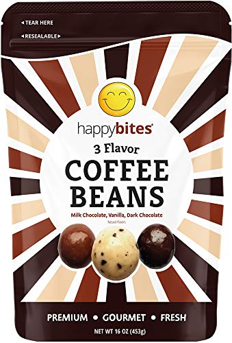 Happy Bites 3 Flavor Coffee Beans - Milk Chocolate, Dark Chocolate & Vanilla Covered - Resealable Pouch Bag (1 Pound)