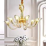 MJZHJD Lampadario Lampadario Semplice Camera da Letto in Vetro Ristorante Luce Cigno Creativo Europeo Rame Francese lampadario di Cristallo 660 * 450 (mm)