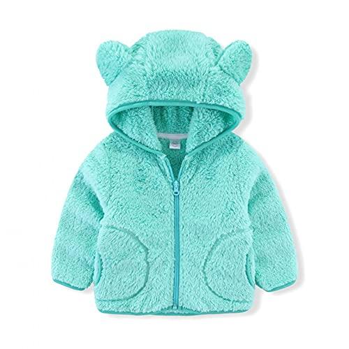 YWLINK Bebé NiñOs NiñOs NiñAs Polar Cremallera Completa Sudadera Con Oso Orejas Color SóLido Abrigo SuéTer OtoñO Invierno Chaqueta Con Capucha