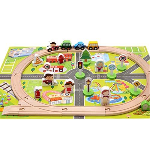 QiHaoHeji Juego De Trenes De Juguete Juegos De Madera para Niños Edificio Y Construcción Juguete Expandible Cambiable-Diversión para 3 + Años Niñas Y Niños Vía de Tren de Madera