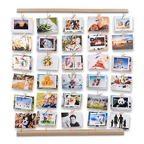 Uping Cornice Portafoto Cornice Multipla per Foto da Parete, Decorazioni per la casa Anniversario Matrimonio e Regalo (Colore Legno Naturale)