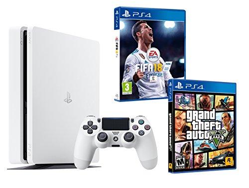 PS4 Slim 500Go Blanche Playstation 4 Pack 2 Jeux - FIFA 18 + GTA V