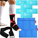 Toughito Ankle Brace and Ice Pack Set Bundle - Hot & Cold Therapy Ankle and Body Treatment - Ankle Brace, 6 Ice Packs, 2 Ice Pack Sleeves & Strap