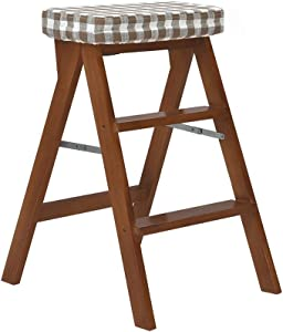 ZHJBD Furniture Stool Ladder Stool Tier for Child Adults Bench Seat for Library Home Kitchen Wood Folding