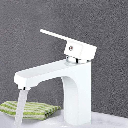 Waterkraan, moderne witte badkamerarmatuur, messing, sproeikleur waterkraan, toiletwaterwastafel wastafel met warm en koud water