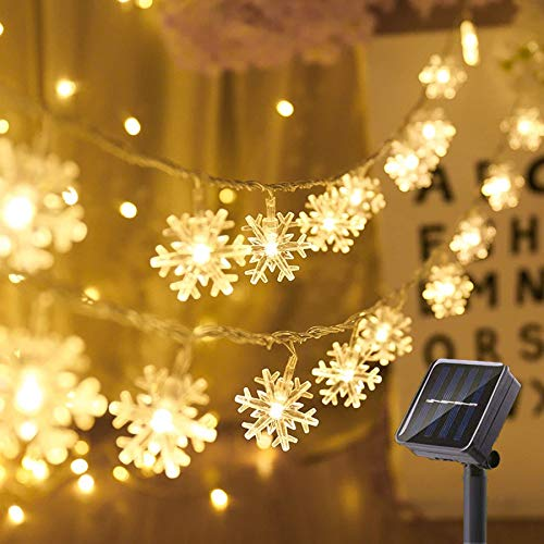 SNOMYRS Solar String Lights Outdoor 50Led 22.9 Ft Solar Snowflake Decorations Lights with 8 Lighting Modes for Garden Yard Home Porch Party Decor (Warm White)