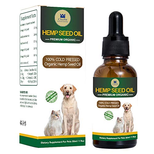 ChicPet UK Hemp Oil for Dogs, Cats and Pets. High Strength, 30ml bottle, 100% natural for anxiety, arthritis, pain relief. Omega oils treat dry skin, lubricates joints, gives a glossy coat.
