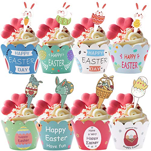 Cupcake Topper Set- 96 Unids Decoración de pastel de Pascua, Adecuado Para...