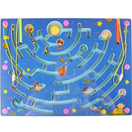 Gobus Holz Perlen Labyrinth Stift Fahren Perle Labyrinth interaktives Maze Puzzle Spielzeug Kinder pädagogisches Brettspiel (9 Planeten Labyrinth)
