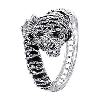 EVER FAITH Austrian Crystal Enamel Gorgeous Tiger Animal Bangle Bracelet Clear Silver-Tone