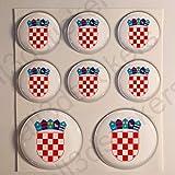 All3DStickers Wappen Kroatien Aufkleber Harz Gewölbt 8 x Aufkleber von Kroatien Rund 3D Kfz-Aufkleber Gedomt Flaggen Fahne