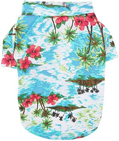 COUTUDI Hawaiian Dog Shirts Aloha Dog Shirt Pet Summer Cool Summer Hawaiian Style Leaf Flower product image