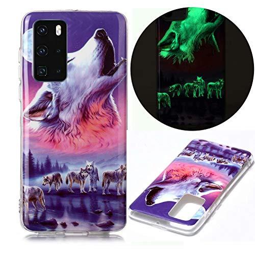 Miagon Leuchtend Luminous Hülle für Huawei P40,Fluoreszierend Licht im Dunkeln Handyhülle Silikon Case Handytasche Stoßfest Schutzhülle,Sechs Wolf
