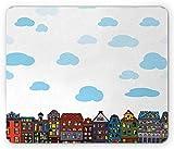 N\A Alfombrilla de ratón Amsterdam, Edificios urbanos con mullidas Nubes en el Cielo, Calles residenciales, Alfombrilla Rectangular de Goma Antideslizante, tamaño estándar, Blanco y Multicolor