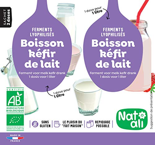 NAT'ALI - Organic Milk Kefir Starter Cultures, Made in France