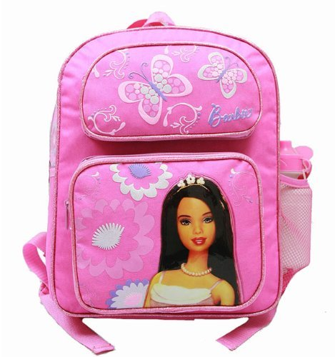 Medium Backpack - Barbie - with Water Bottle, Hot Pink - 2 Butterfly -