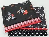 Stoffpaket Patchwork Baumwolle Piraten schwarz-rot 7 x 50 x