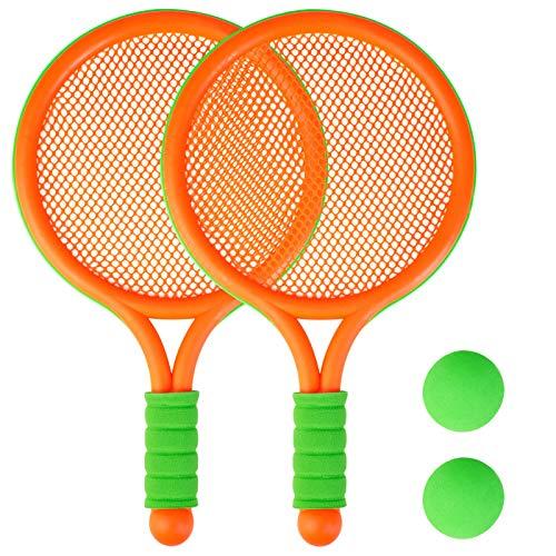 COSYOO Juego de Raquetas de Tenis: Raqueta de bádminton Ligera, Juguete para jardín de, Set de bádminton, Raqueta de Juguete, Juego de Tenis con Pelota,Apto para niños de 3 a 12 años