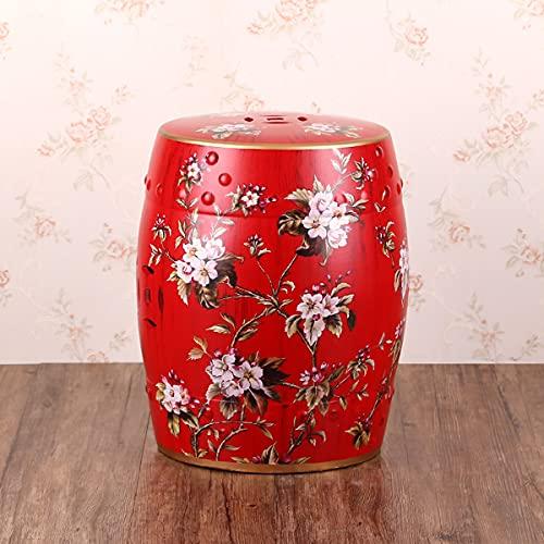 WLH New Chinese Ceramic Drum Stool, Round Stool Dressing Stool, Hotel Villa Living Room Sofa Side Few Decorative Ornaments(38X26CM)(Color:B)