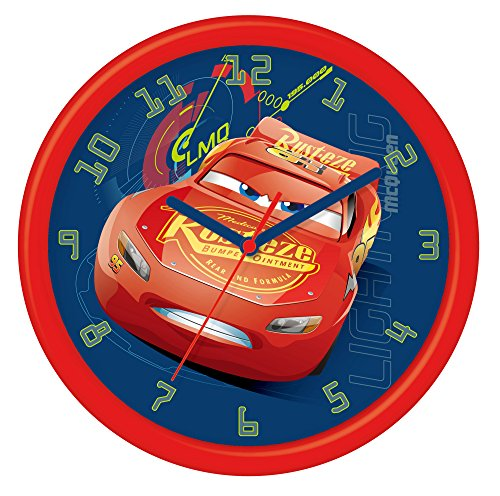 Disney Cars 3 - Reloj de pared en caja de regalo, Plástico, 24 cm, Multicolor