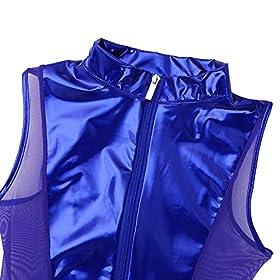 JanJean Womens Shiny Patent Leather Mesh Splice Zipper Teddy Leotard Bodysuit Catsuit Clubwear
