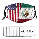 Unisex Face Protect Cover with Filter Breathable and Reusable,Mexican Roots American Flag Mexico Gift Cloth Mask Balaclava Bandana for Adult Outdoor Activities