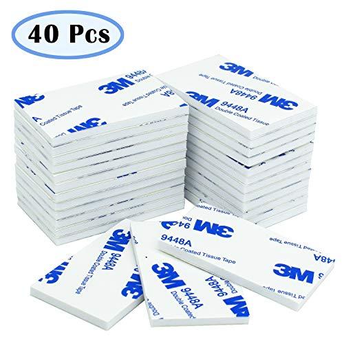 Pastilles adhésives double-face, blanc, lot de 40 pièces, bande de mousse adhésive pour montage, rectangulaires