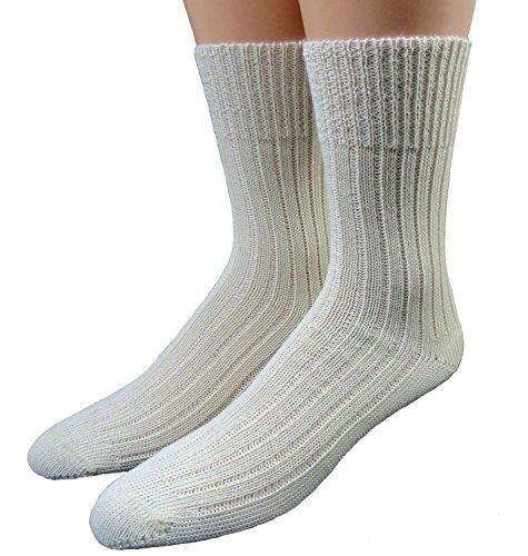 Shimasocks Damen Herren Socken 100prozent Wolle ohne Gummi rohweiß, Größe:39/42, Farben alle:rohweiß