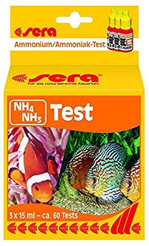 sera 04910 Ammonium/ammoniak-test (NH4/NH3), watertest voor ca. 60 metingen, meet betrouwbaar en nauwkeurig ammonium en ammoniak, voor zoet en zeewater, in het aquarium of vijver.