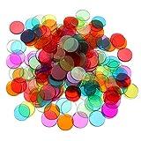 NUOBESTY fichas de Bingo Juego de 300 fichas de conteo de Colores Transparentes marcadores de plástico contadores de Juegos matemáticos 0.7 Pulgadas de diámetro