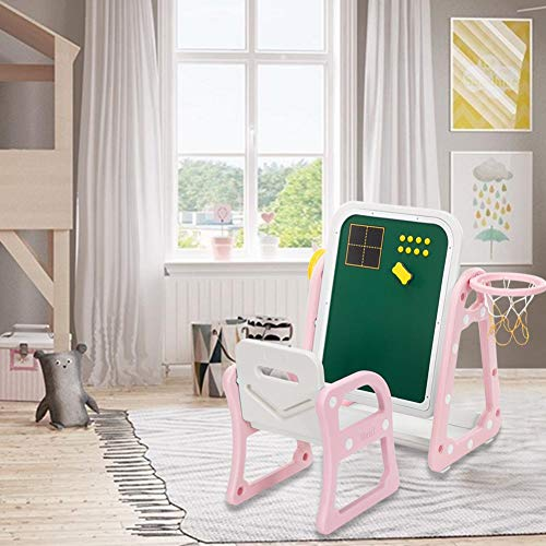 Childrens Plastic Table and Chair Set, (52 X 67 X 68) Kids Table & Chair Set with Drawing Board and Shooting Ring, 1 Table and 1 Chair for Toddlers Ages 2-6 Years